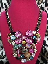 Betsey Johnson HUGE Embellished Minnie Mouse Head Disney Collaboration Necklace