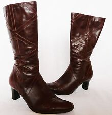 "Clarks ""K"" Ladies chocolate brown leather winter mid calf boots/heels  size 4 E"
