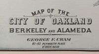 "Vintage 1902 OAKLAND BERKELEY ALAMEDA CALIFORNIA Map 22""x14 Old Antique Original"