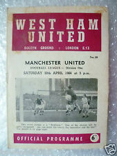 1966 WEST HAM UNITED v MANCHESTER UNITED (League Division One) 30 April