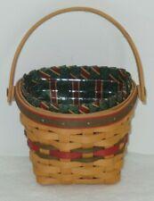Longaberger 1999 Little Joy Hanging basket, Imperial Stripe liner, protector