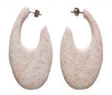 Orange Spray Effect Speck /oval White Wooden Stud Style Earrings(Zx16/219)