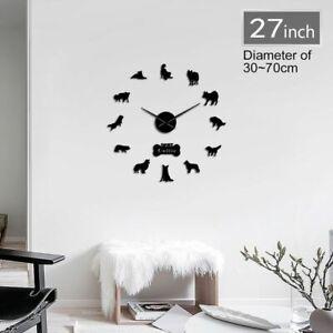 Wall Clock Border Collie Dog Breed Silhouette Acrylic Mirror Sticker Watch Gift