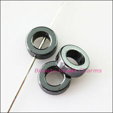 15Pcs Round Flat Black Hematite Gemstone Spacer Beads Frame Charms 8mm