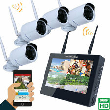 "WiFi CCTV 4CH 10"" TFT LCD NVR 1.3MP HD IP IR Camera 2T HDD Wireless Security"