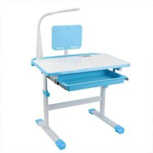 Kinderschreibtisch Höhenverstellbar Schülerschreibtisch Schreibtisch Lampe Blau