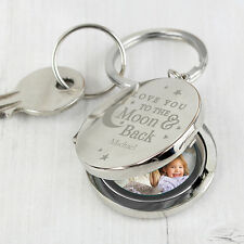 Personalised Love You To The Moon And Back Photo Keyring Locket Gift FathersDay