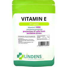 Vitamin E 100IU  200 Capsules Promotes Healthy Skin & Heart Lindens