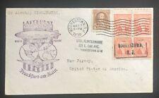 1936 HINDENBURG AIRSHIPN ZEPPELIN - LAKEHURST, NJ to FRANKFURT, GERMANY