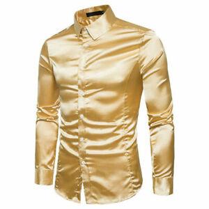 Men Slim Shirts Shiny Faux Satin Lapel Collar Long Sleeves Cocktail Tops Fashion