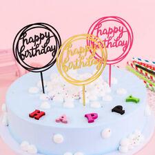 3Pcs Acrylic Insert Card Cake Topper Happy Birthday Shining Bake Wedding Supply