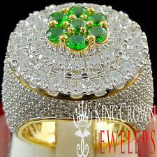 REAL YELLOW GOLD SILVER MENS BIG GREEN EMERALD LAB DIAMOND HUGE JUMBO RING BAND
