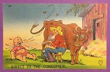 Vintage Antique Post Card, Farm Cow Baby Humor
