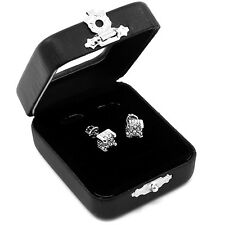 Men's Silver Hip Hop Iced Out Paved Cz Block Cube S Screw Back Stud Earrings E16