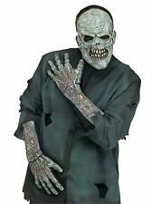 Long Zombie Skeleton Gloves Adults 3D Bones Hands Mens Womens Skull Hand Costume