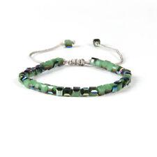 Glasperlen Makrame Armband Kristallglas Kristall grün verstellbar eckig Perlen