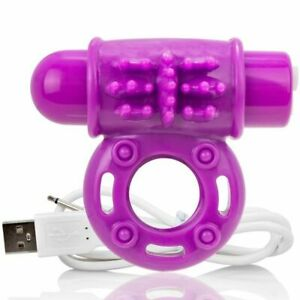Screaming O Ring Penis Ring Vibrator O Wow Rechargeable Purple Cock Ring for Men