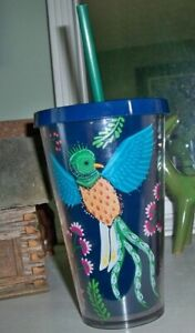STARBUCKS Bird of Paradise Quetzal Blue Cold Cup Acrylic Tumbler 16 Oz Flower