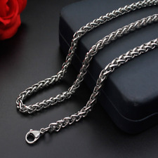 Man Women Stainless Steel 2mm/3mm/4mm/5mm Silver Wheat Braided  Chain Necklace