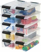 Details about 10 Clear Plastic Storage Totes with Lids Containers Stackable Bin