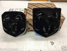 2013-2017 RAM 1500 2500 3500 FRONT & REAR BLACK RAMS HEAD MOPAR BADGE EMBLEM OEM