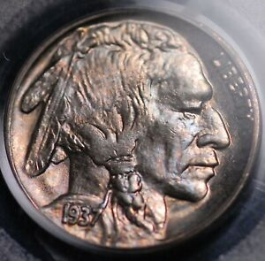1937 BUFFALO NICKEL PCGS MS 66 BEAUTIFULLY TONED IN  RASPBERRY BLUE AND COPPER