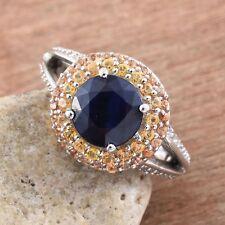 Kanchanaburi Blue Sapphire,Yellow & Orange Sapphire Platinum Over Sterlng