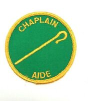 Chaplain Aide Position Patch Boy Scouts BSA Cane Round Green Vintage