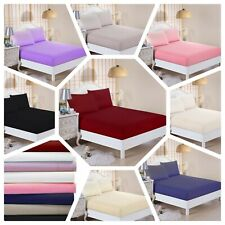 Fitted Bed Sheet 100% Cotton with Pair of Pillow Cover (Size: S,D,K,SK)