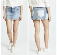 NWT Free People Patched Denim Mini Skirt Frayed Hem Size 29