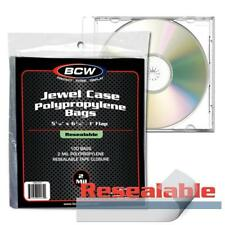 Lot of 300 BCW Resealable CD Jewel Case Acid Free 2-Mil Clear Poly Bags