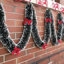 2M Christmas Garland With Bowknot Xmas Garland Chunky Tinsel Chrismas Tree Decor