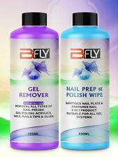 Nail Gel Polish Prep + And Wipe & Remover UV LED Manicure Acetone 2x250ml