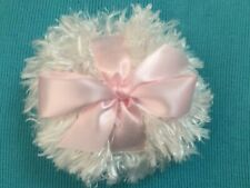 Shaggy Body powder puff, 4 inches with ribbon and bow, pink (or color choice)
