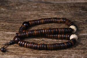 42cm China Tibet Antique Pendants natural wood Beads Necklace Pendants