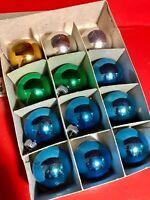 """SHINY BRITE Christmas Ornaments 1.75"""" Balls Box 12 Vintage Mercury Glass"""