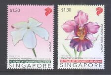 SINGAPORE 2016 PAKISTAN JOINT ISSUE NATIONAL FLOWERS (ORCHID & JASMINE) 2 STAMPS