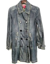 If Your Jeans Could Talk Women Large Denim Jacket Trench Coat Big Button Blue -X