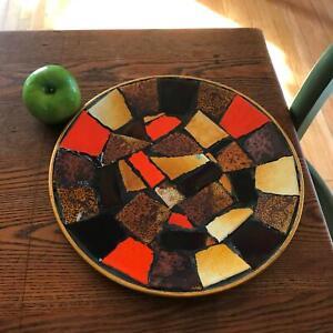 "11.5"" Vintage Mid Century Abstract Modern Mosaic Plate Aluminum OrangeBrown Tile"