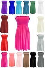 New Women's Strapless Bandeau Sheering Gather Boob Tube Beach Top Mini Dress