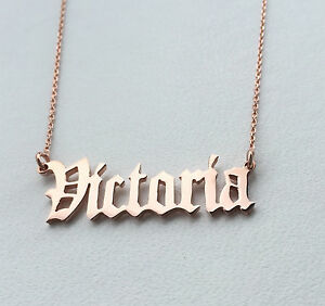 Personalised Old English Font,Gothic Name Necklace,18K Rose Gold Plated,HANDMADE