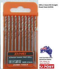 10Pcs, 2.5mm Twist Drill Bit , Straight Shank A0033