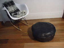 Beautiful Leather Ottoman for use as Coffee Table or Pouf or Pouffe - Pure Black