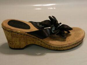 BJORNDAL Lana Women's Sandals Heels Shoes Wedge Bow Leather Black Sz 6M EUC Rare