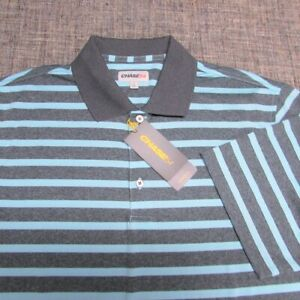 CHASE 54 POLY GOLF SHIRT--L--STRIPES--WRINKLE FREE--UNWORN!!--NEW!!TAGS!!