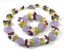 "Handmade 6"" Bracelet 17"" Necklace Custom Heart Stone Carnelian Chip Chunky Set"