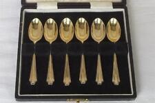 Un caso set di sei in Argento Dorato Caffè Cucchiai Londra 1939 da HARRODS LTD.