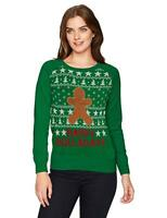 Women's Ginger Bread Cute Christmas Sweater W/ Velcro Pieces to Design,Med/Large