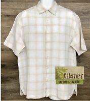 Cubavera Men's 100% Linen White Beige Plaid Short Sleeve Button Front Shirt L