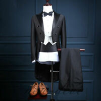 Men Black Tailcoat Suit Groom Tuxedo Formal Wedding Party Peak Lapel Suit Custom